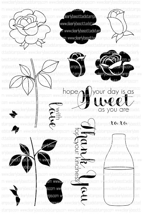 Clearly Besotted SWEET ROSE Clear Stamp Set  zoom image