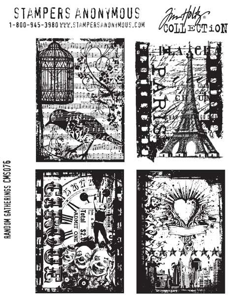 Tim Holtz Cling Rubber Stamps RANDOM GATHERINGS Stampers Anonymous CMS076 zoom image