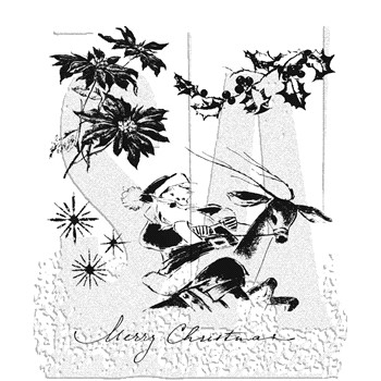 Tim Holtz Cling Rubber Stamps CHRISTMAS TIME CMS141