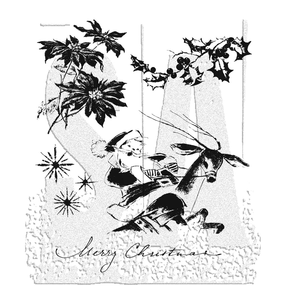Tim Holtz Cling Rubber Stamps CHRISTMAS TIME CMS141 zoom image