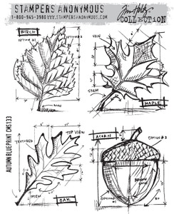 Tim Holtz Cling Rubber Stamps AUTUMN BLUEPRINT CMS133 Preview Image
