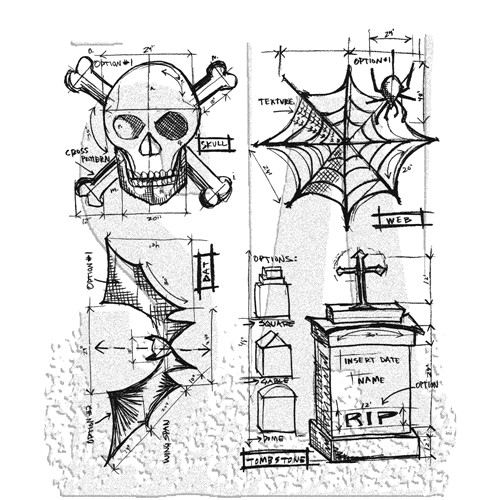 Tim Holtz Cling Rubber Stamps HALLOWEEN BLUEPRINT CMS134 Preview Image