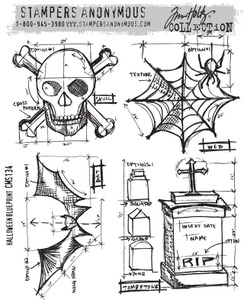 Tim Holtz Cling Rubber Stamps HALLOWEEN BLUEPRINT CMS134*
