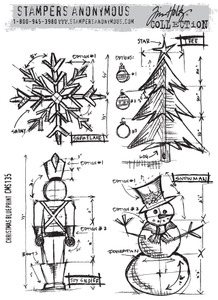 Tim Holtz Cling Rubber Stamps CHRISTMAS BLUEPRINT CMS135