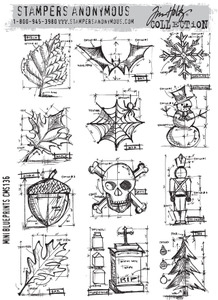 Tim Holtz Cling Rubber Stamps cms136 MINI BLUEPRINTS Stampers Anonymous*