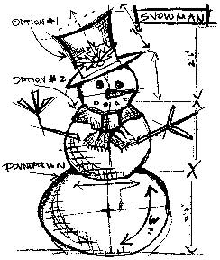 Tim Holtz Rubber Stamp SNOWMAN SKETCH Stampers Anonymous U1-1947 Preview Image