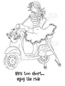 Stamping Bella Cling Stamp UPTOWN GIRL VIENNA AND HER VESPA Rubber UM eb223 zoom image