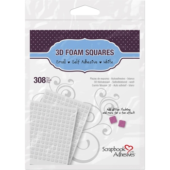 Scrapbook Adhesives 0.25 INCH 3D 308 WHITE FOAM Squares Adhesive 01612