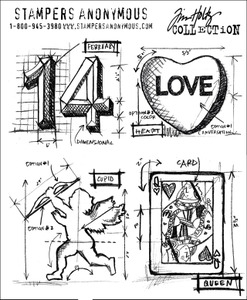 Tim Holtz Cling Rubber Stamps VALENTINE BLUEPRINTS cms143  Preview Image