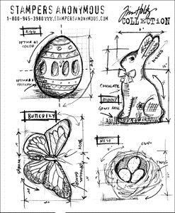 Tim Holtz Cling Rubber Stamps EASTER BLUEPRINTS cms144 Preview Image