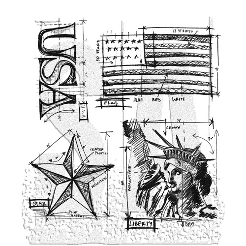 Tim Holtz Cling Rubber Stamps AMERICANA BLUEPRINTS cms145 Preview Image
