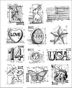 Tim Holtz Cling Rubber Stamps MINI BLUEPRINTS 2 Stampers Anonymous cms146 Preview Image