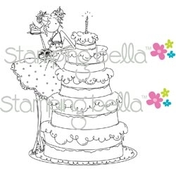 Stamping Bella Cling Stamp UPTOWN GIRL BIANCA HAS A BIG CAKE Rubber UM EB230 zoom image