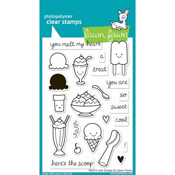 Lawn Fawn HERE'S THE SCOOP Clear Stamps LF440