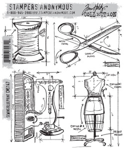 Tim Holtz Cling Rubber Stamps SEWING BLUEPRINT CMS147
