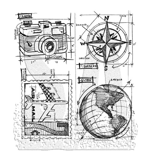 Tim Holtz Cling Rubber Stamps TRAVEL BLUEPRINT CMS148 Preview Image