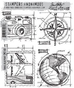 Tim Holtz Cling Rubber Stamps TRAVEL BLUEPRINT CMS148
