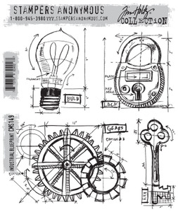 Tim Holtz Cling Rubber Stamps INDUSTRIAL BLUEPRINT CMS149*