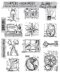 Tim Holtz Cling Rubber Stamps CMS150 MINI BLUEPRINTS 3 Stampers Anonymous