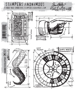 Tim Holtz Cling Rubber Stamps RINGMASTER BLUEPRINT CMS151