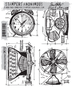 Tim Holtz Cling Rubber Stamps VINTAGE THINGS BLUEPRINT CMS152 Preview Image