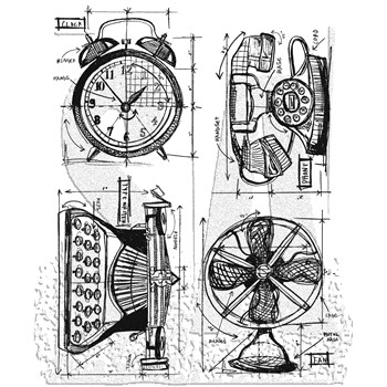 Tim Holtz Cling Rubber Stamps VINTAGE THINGS BLUEPRINT CMS152