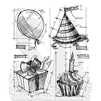 Tim Holtz Cling Rubber Stamps BIRTHDAY BLUEPRINT CMS153