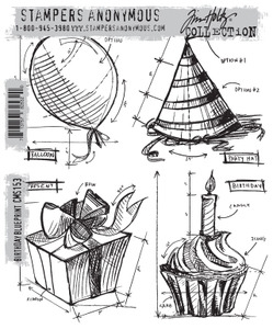 Tim Holtz Cling Rubber Stamps BIRTHDAY BLUEPRINT CMS153 zoom image