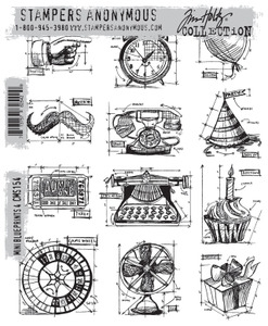 Tim Holtz Cling Rubber Stamps CMS154 MINI BLUEPRINTS 4 Stampers Anonymous