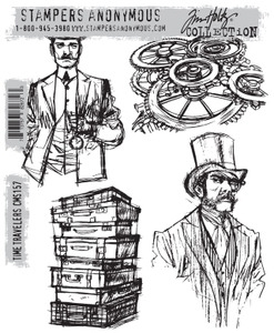 Tim Holtz Cling Rubber Stamps TIME TRAVELERS cms157*