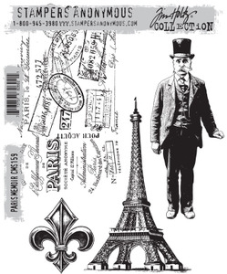 Tim Holtz Cling Rubber Stamps PARIS MEMOIR cms159*