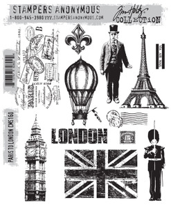 Tim Holtz Cling Rubber Stamps PARIS TO LONDON cms160*