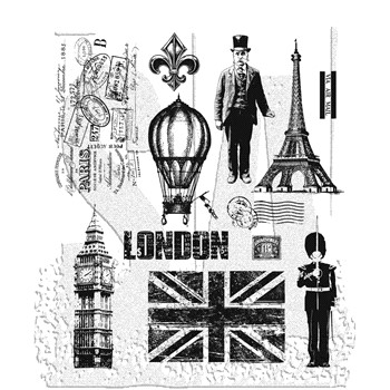 Tim Holtz Cling Rubber Stamps PARIS TO LONDON cms160