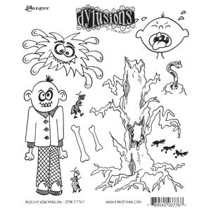 Dyan Reaveley MISCHIEVOUS MALCOM Stamp Set Dylusions Cling Unmounted Rubber zoom image