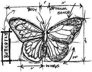 Tim Holtz Rubber Stamp BUTTERFLY SKETCH Stampers Anonymous U1-2067*