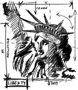 Tim Holtz Rubber Stamp LIBERTY SKETCH Stampers Anonymous V1-2072* Preview Image
