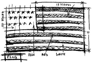 Tim Holtz Rubber Stamp FLAG SKETCH Stampers Anonymous U1-2071 zoom image