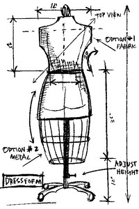 Tim Holtz Rubber Stamp DRESS FORM SKETCH Stampers Anonymous U1-2075