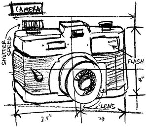Tim Holtz Rubber Stamp CAMERA SKETCH Stampers Anonymous P1-2077
