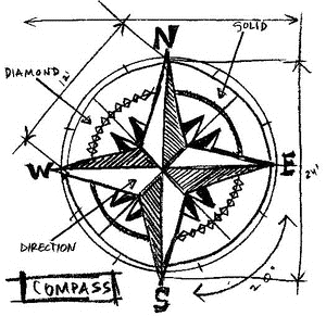 Tim Holtz Rubber Stamp COMPASS SKETCH Stampers Anonymous P1-2078