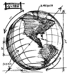 Tim Holtz Rubber Stamp GLOBE SKETCH Stampers Anonymous U2-2080*