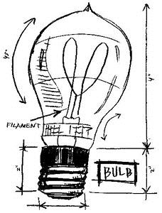 Tim Holtz Rubber Stamp LIGHTBULB SKETCH Stampers Anonymous P1-2082