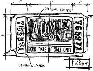 Tim Holtz Rubber Stamp TICKET SKETCH Stampers Anonymous M4-2085