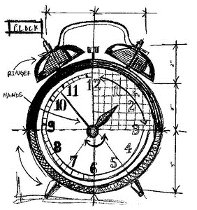 Tim Holtz Rubber Stamp CLOCK SKETCH Stampers Anonymous P1-2089