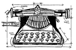 Tim Holtz Rubber Stamp TYPEWRITER SKETCH Stampers Anonymous U1-2092 Preview Image
