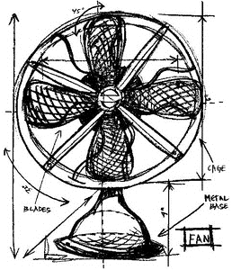Tim Holtz Rubber Stamp FAN SKETCH Stampers Anonymous P1-2090