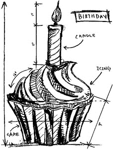 Tim Holtz Rubber Stamp BIRTHDAY SKETCH Stampers Anonymous P1-2094
