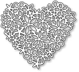 Impression Obsession Steel Dies FLORAL LACE HEART DIE054-S