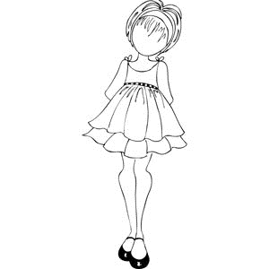 Prima Marketing DOLL WITH RUFFLE DRESS Mixed Media Doll Cling Stamp 910143* Preview Image