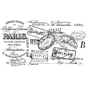 Tim Holtz Rubber Stamp PARIS CERTIFICATE Stampers Anonymous V2-2110